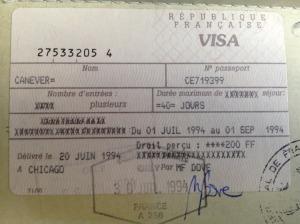 Primeira vez que fui para a França precisava de visto