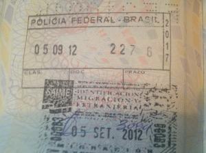 Carimbo imigração Brasil na fronteira com Venezuela