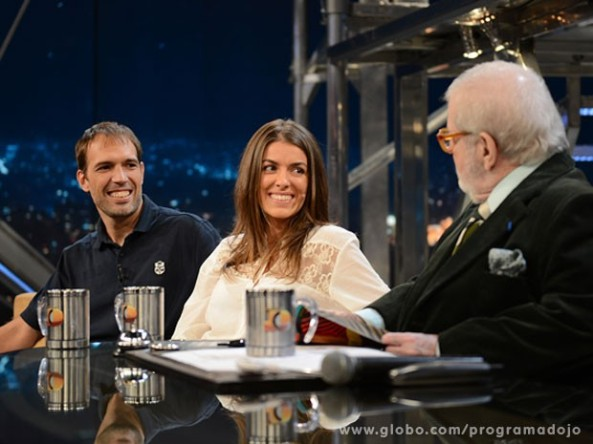 Guilherme Canever e Bianca Soprana no Programa do Jô (Foto: TV Globo/Programa do Jô)